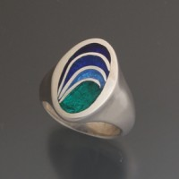 Cast sterling and enamel ring by Krista
