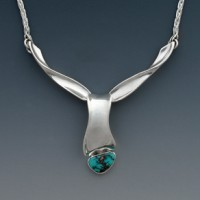 Forged sterling and turquoise pendant by Kathy Pritchett